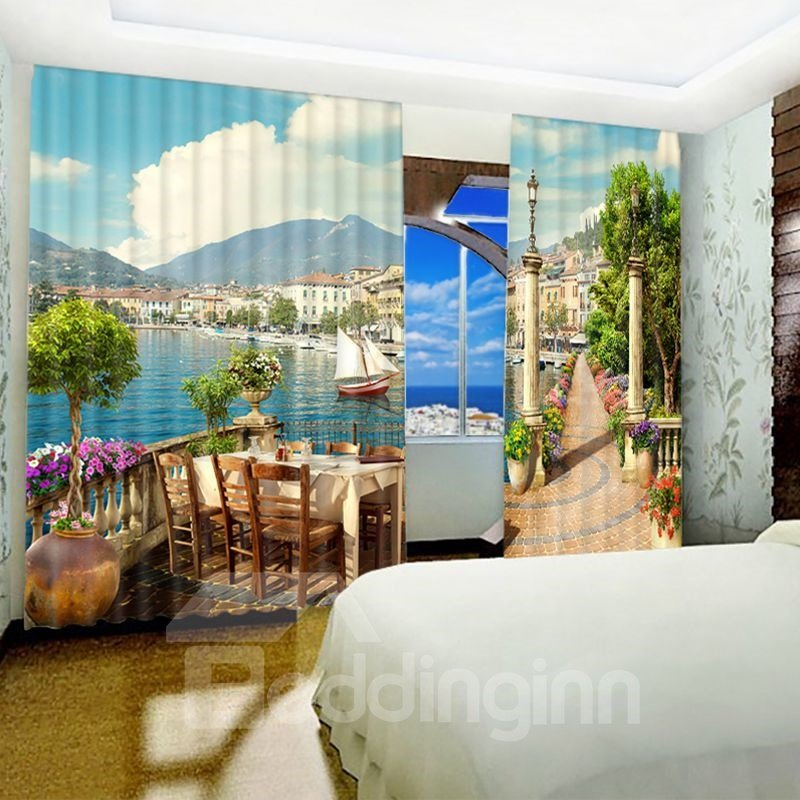 3D Charming Seaside Scenery Printed Thick Polyester 2 Panels Living Room Curtain