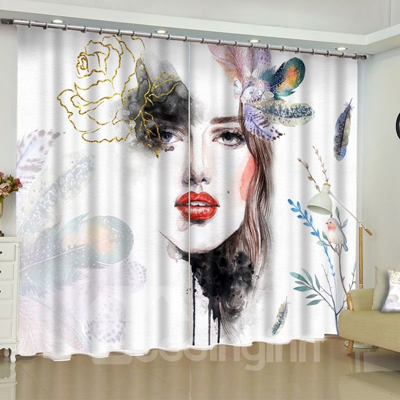 3D Sketching Beautiful Lady with Flowers Printed 2 Panels Living Room Custom Curtain