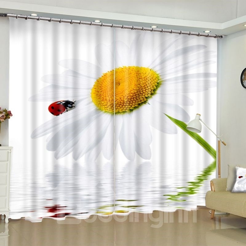 Blooming Sunflowers and Butterflies Printed Pastoral Style Custom Living Room Curtain