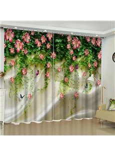 3D Fresh Flowers and Upside-Down Green Branches Printed 2 Panels Custom Curtain