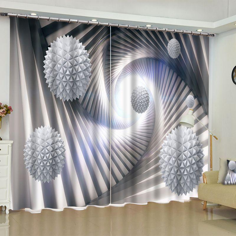 3d White Balls Printed 2 Panels Living Room Blackout Window Drape Pic