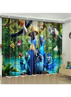 3D Lovely Cartoon Birds Printed 2 Panels Custom Polyester Living Room Curtain