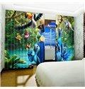 3D Lovely Cartoon Birds Printed 2 Panels Custom Polyester Living Room Curtain