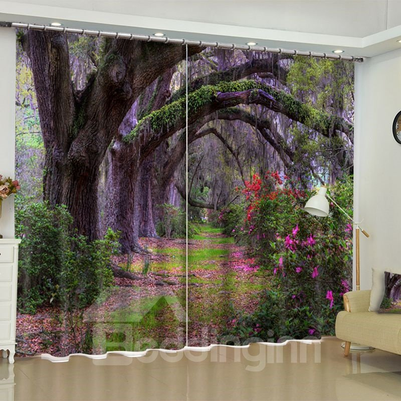 3d Thick Forest Purple Flowers Printed 2 Panels Living Pic