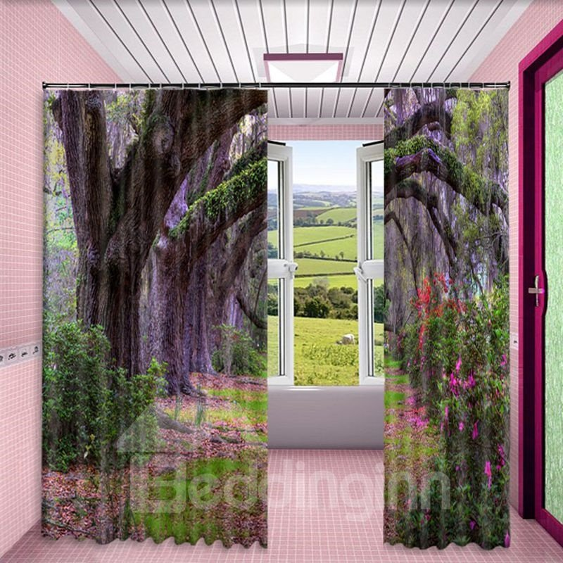 3D Thick Forest and Purple Flowers Printed 2 Panels Living Room Custom Curtain