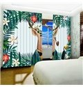 3D Cartoon Deer with Pipe Printed 2 Panels Blackout Curtain for Bedroom