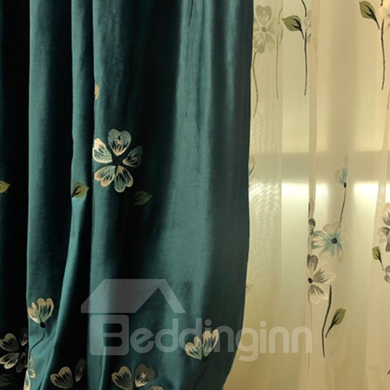 Noble Dark Green Polyester with Small Yellow Flowers 2 Panels Living Room Curtain