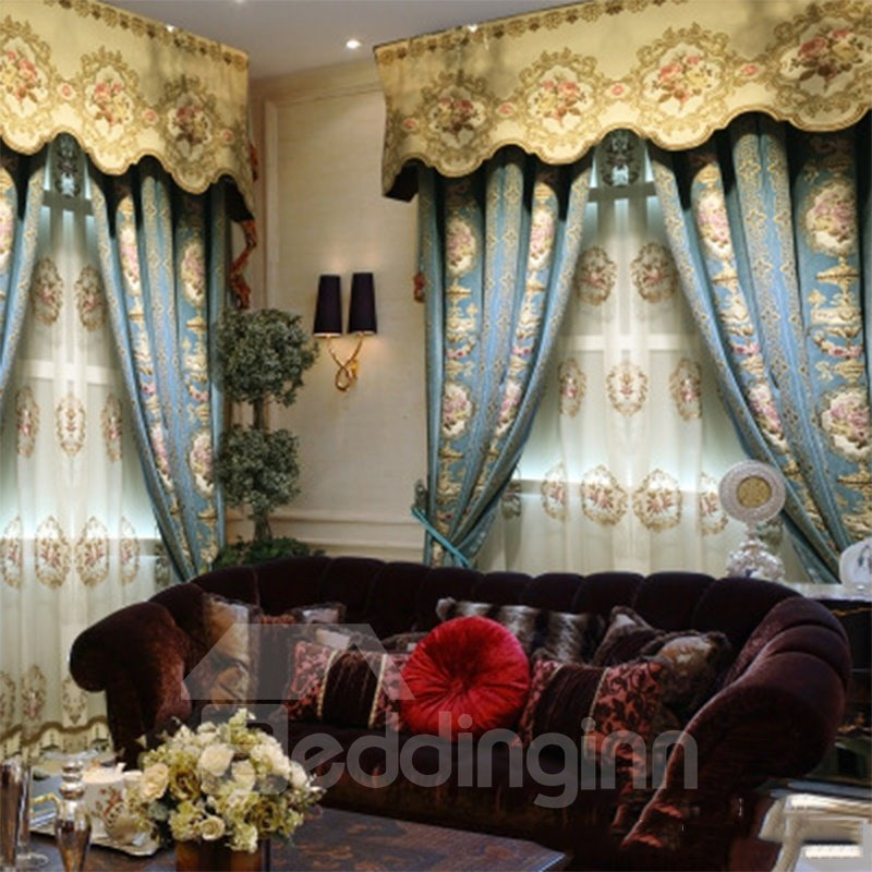 Noble Navy Blue with Embossed Flowers 2 Panels Living Room Curtain