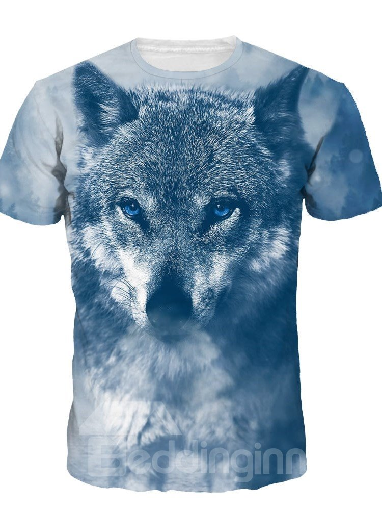 Image For Winter Wolf Cold Short Sleeve Round Neck 3D Painted T-Shirt