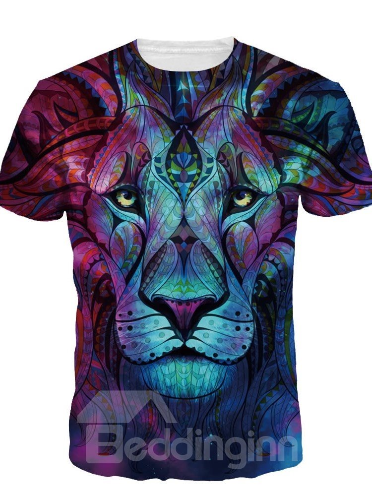 Image For Boho Style Lion Short Sleeve Round Neck 3D Painted T-Shirt