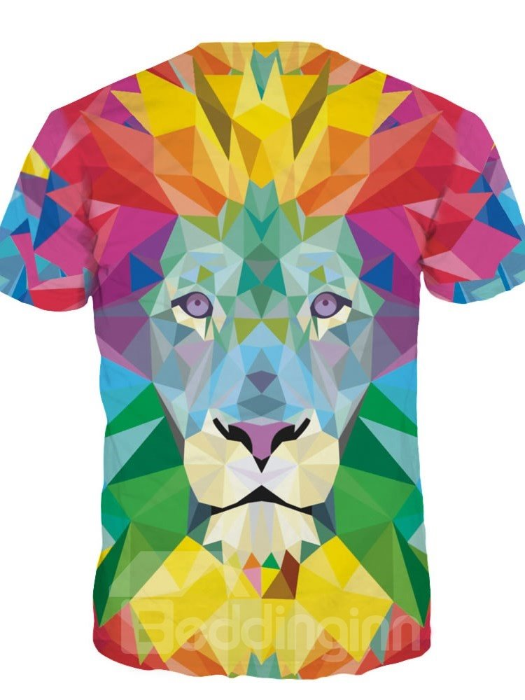 9369e19cb 49 Geometric Abstraction Lion Short Sleeve Round Neck 3D Painted T-Shirt