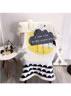 Raining Cloud Printed Polyester Nordic Style White Baby Blanket