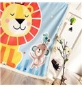 Little Lion Printed Polyester Nordic Style Blue Baby Blanket
