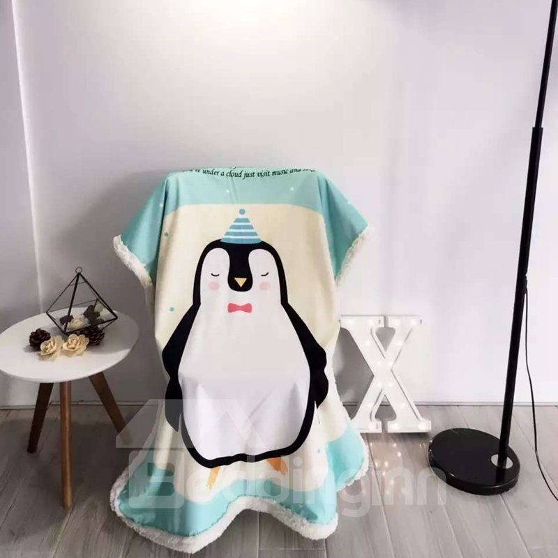 Penguin Printed Polyester Nordic Style Blue Baby Blanket
