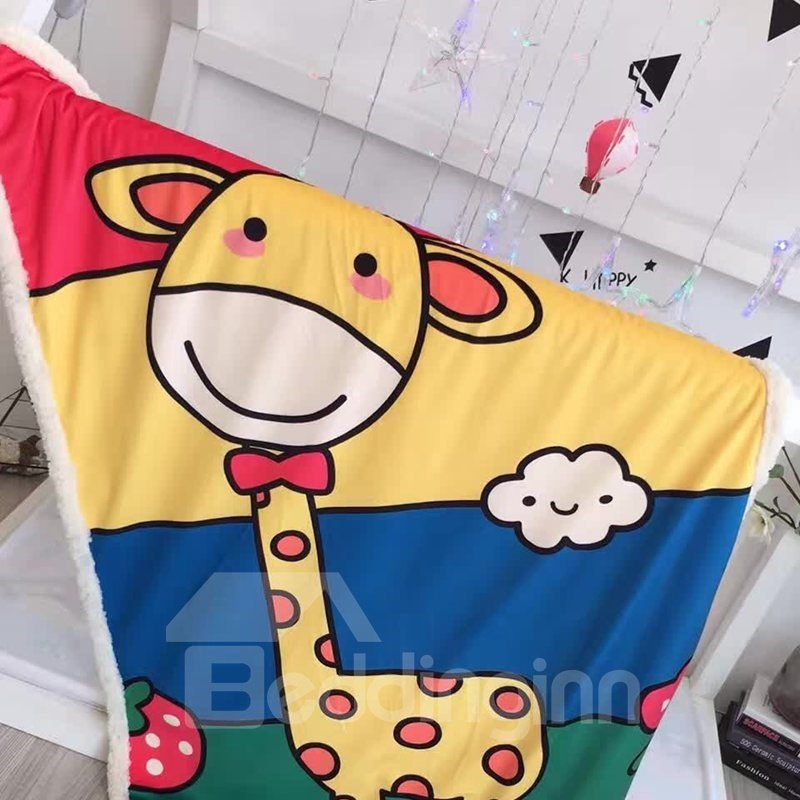 Giraffe Printed Polyester Nordic Style Baby Blanket