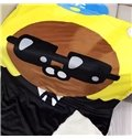 Glasses Man Printed Polyester Nordic Style Yellow Baby Blanket
