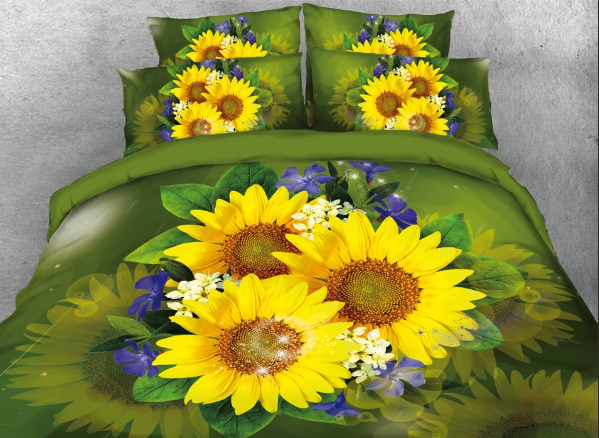 Sunflowers with Blue Flowers Printed 4-Piece Green 3D Bedding Sets/Duvet Covers