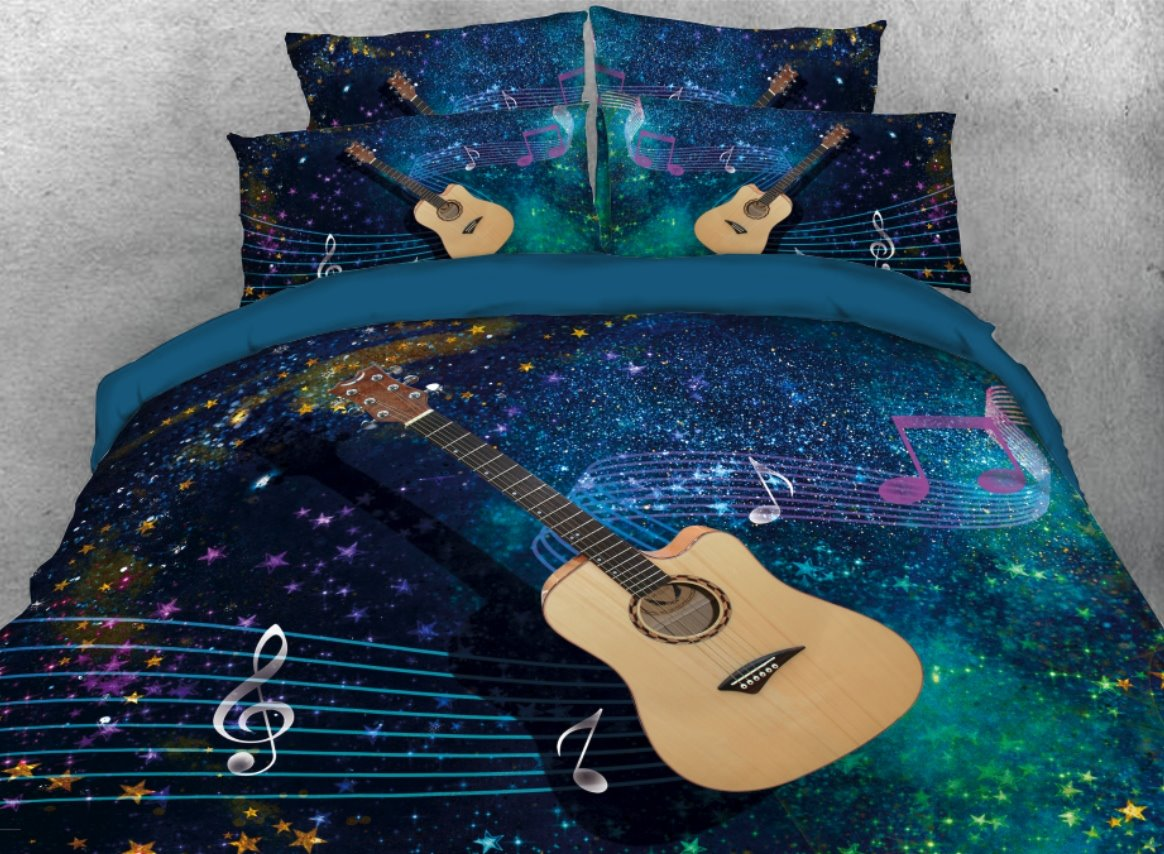 Captivating 65 Onlwe 3D Guitar With Musical Notation Printed 4 Piece Bedding Sets/Duvet  Covers