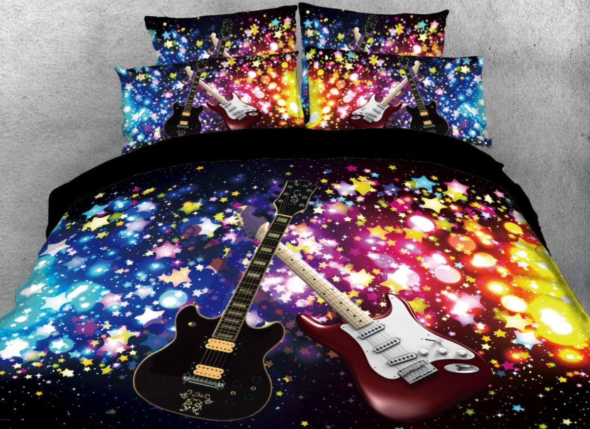 Onlwe 3D Sparkle Cool Guitar Printed 4-Piece Black Bedding Sets/Duvet Covers