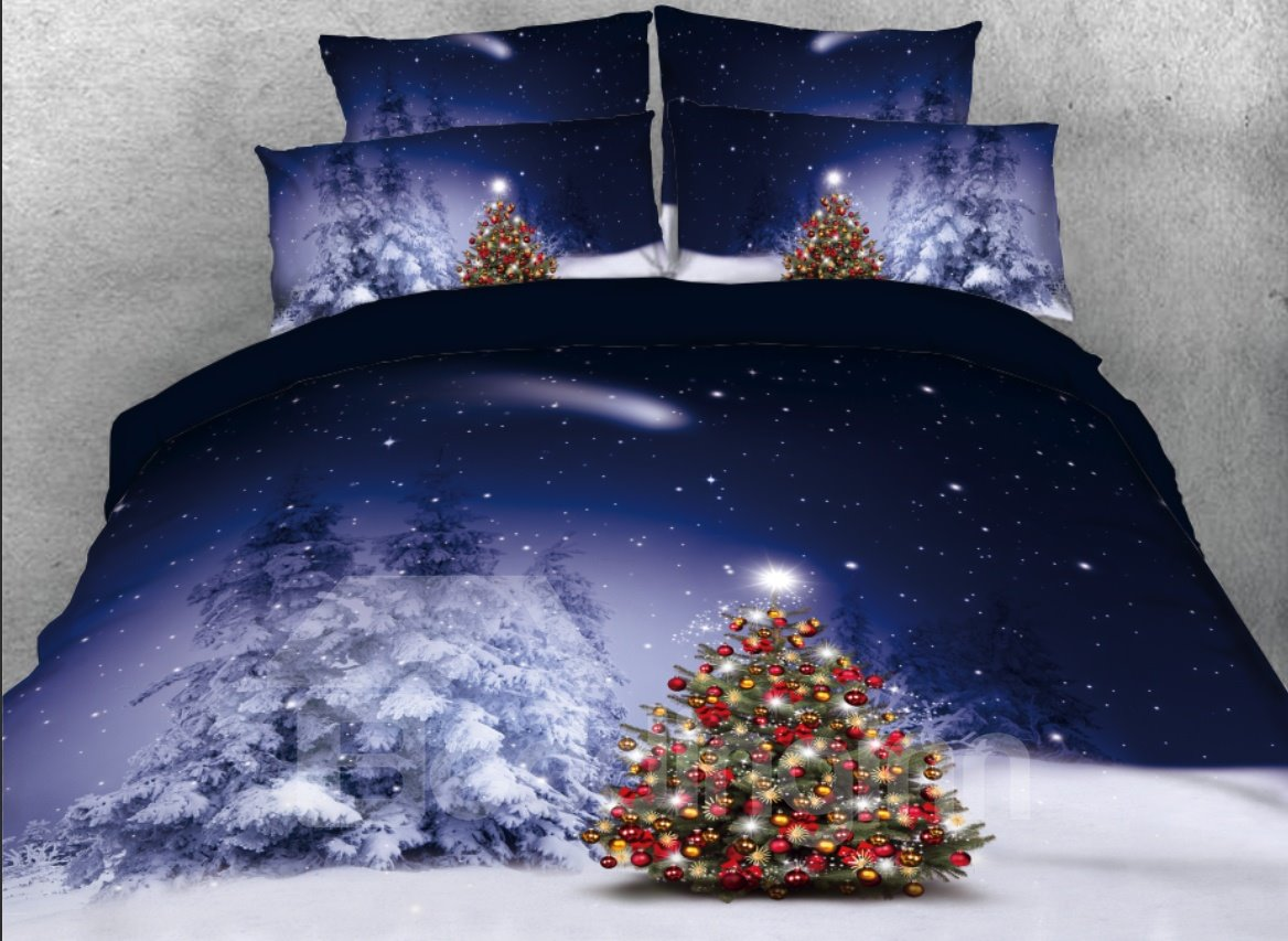 Vivilinen Christmas Snow and Tree Ornaments Printed 4-Piece 3D Bedding Sets/Duvet Cover