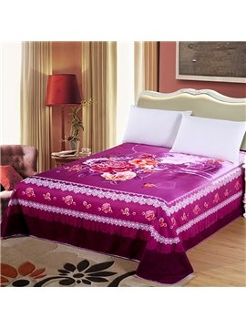 King Size Purple Flowers and Castle Cotton Printed Sheet