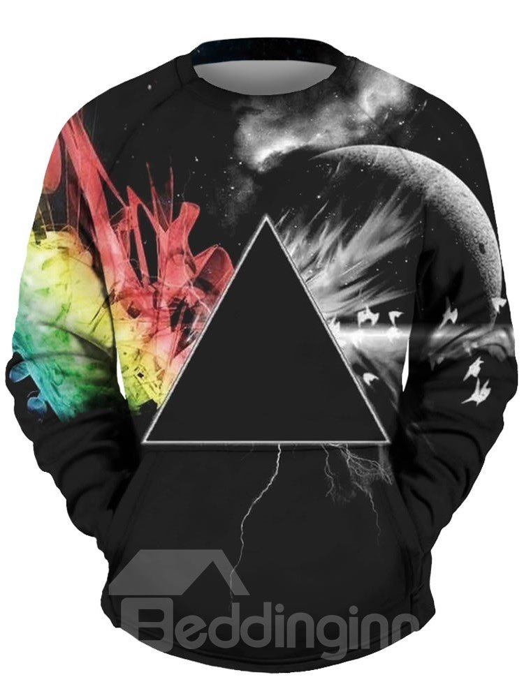 Cool Long Sleeve Triangle Colorful Pattern 3D Painted Hoodie
