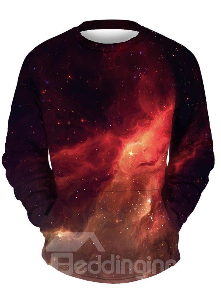 Cool Long Sleeve Red Galaxy Pattern 3D Painted Hoodie