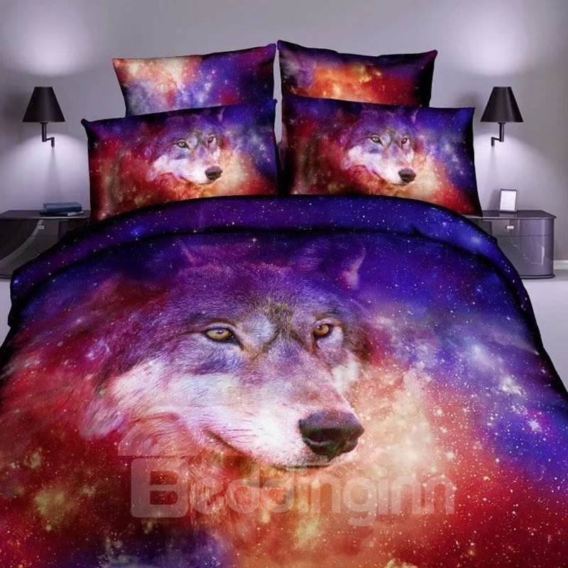 63 3d wolf and colorful galaxy space printed polyester bedding setsduvet cover - Space Bedding
