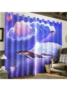 3D Grand Galaxy Scenery Printed Thick Polyester 2 Panels Living Room Curtain