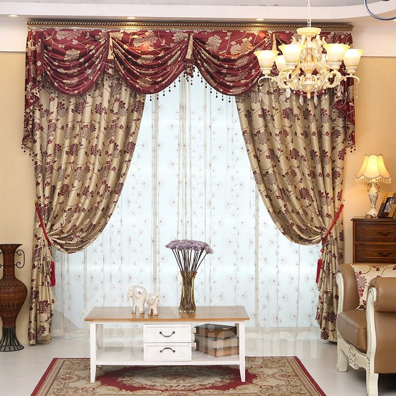 Elegant Light Yellow Thick Polyester with Red Flowers 2 Panels Living Room Curtain