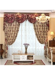 Wonderful Light Yellow Thick Polyester with Red Flowers 2 Panels Living Room Curtain