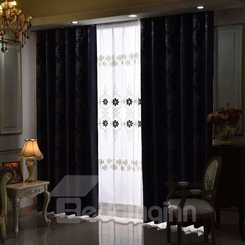 Elegant Dark Blue with Flowers 2 Pieces Decorative and Blackout Living Room Curtain