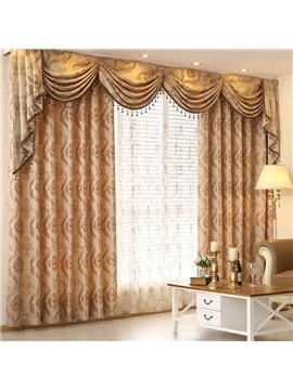 Wonderful Light Yellow Thick Polyester with Classical Damask 2 Panels Living Room Curtain