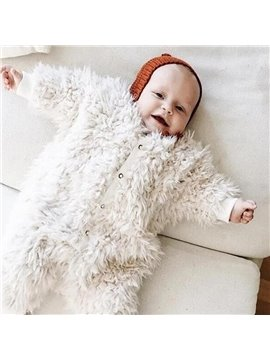 Plush Pure White 1-Piece Baby Sleeping Bag