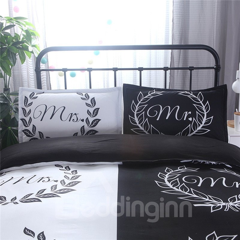 Lovers Floral Mr Mrs Printed Black and White 3-Piece Bedding Sets/Duvet Cover