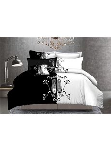 Couple Lovers Shoes Black and White Block 3-Piece Polyester Bedding Sets/Duvet Cover