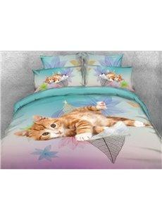 Vivilinen 3D Kitten on the Leaves Printed 5-Piece Comforter Sets