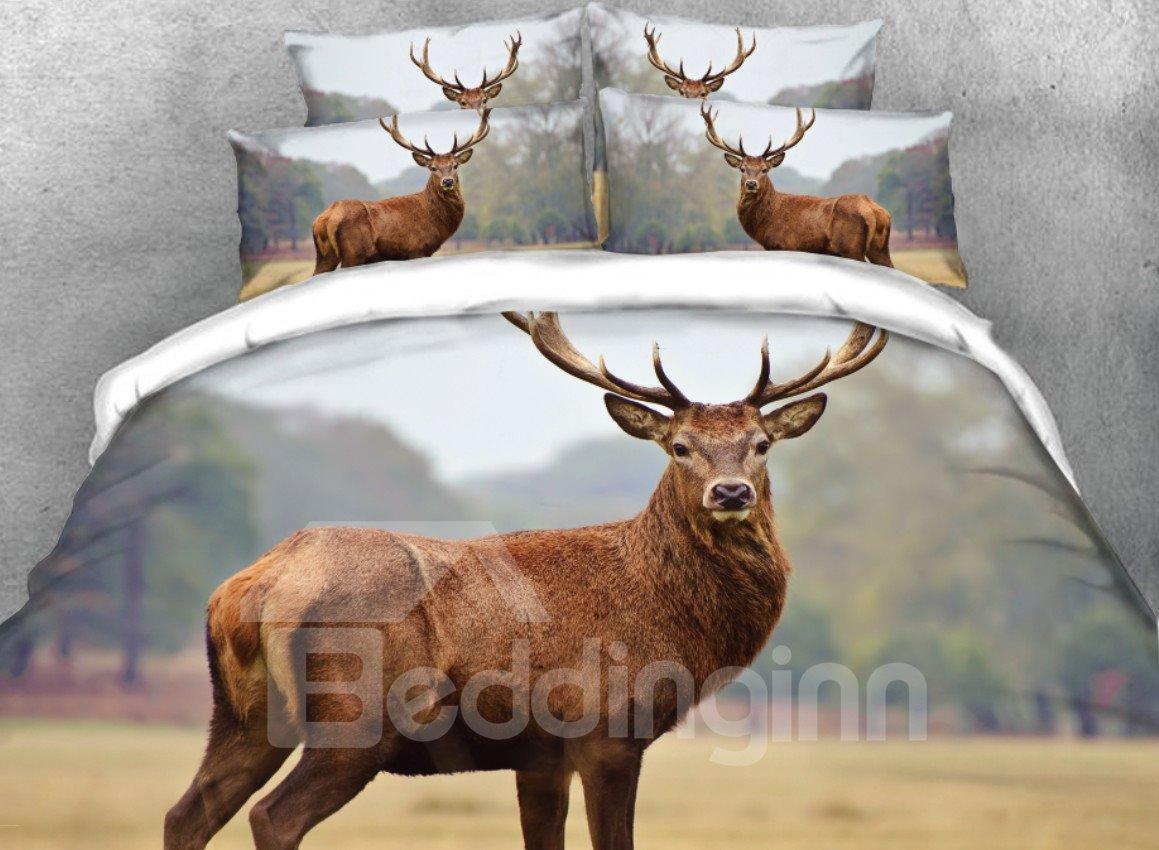Watching Wapiti Deer Printed 3D 4-Piece Bedding Sets/Duvet Cover