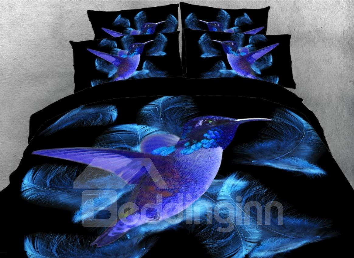 3d Blue Hummingbird Feathers Printed 5 Piece Comforter Sets Pic