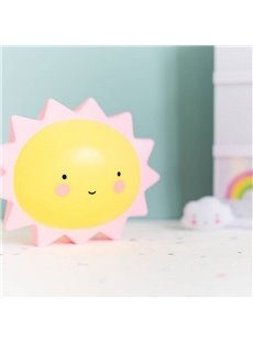 Smiling Sun Shaped Plastic Yellow Kids Room Night Light