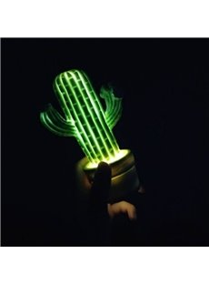 Cactus Shaped Plastic Green Kids Room Night Light