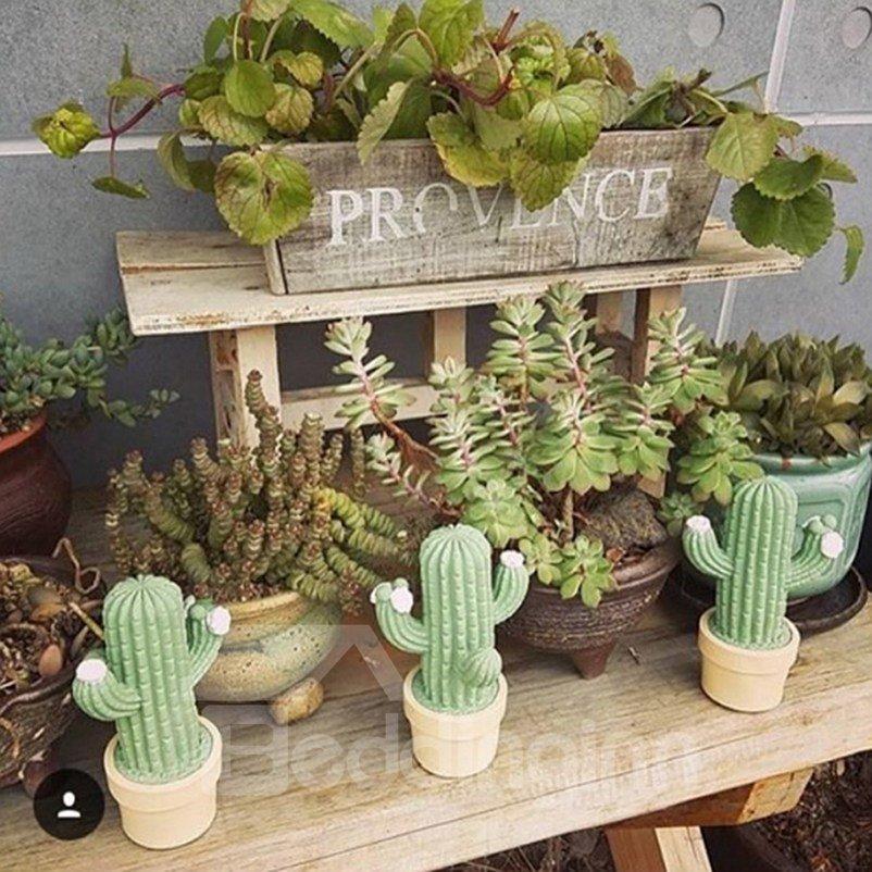 Cactus Shaped Plastic Green Kids Room Night Light