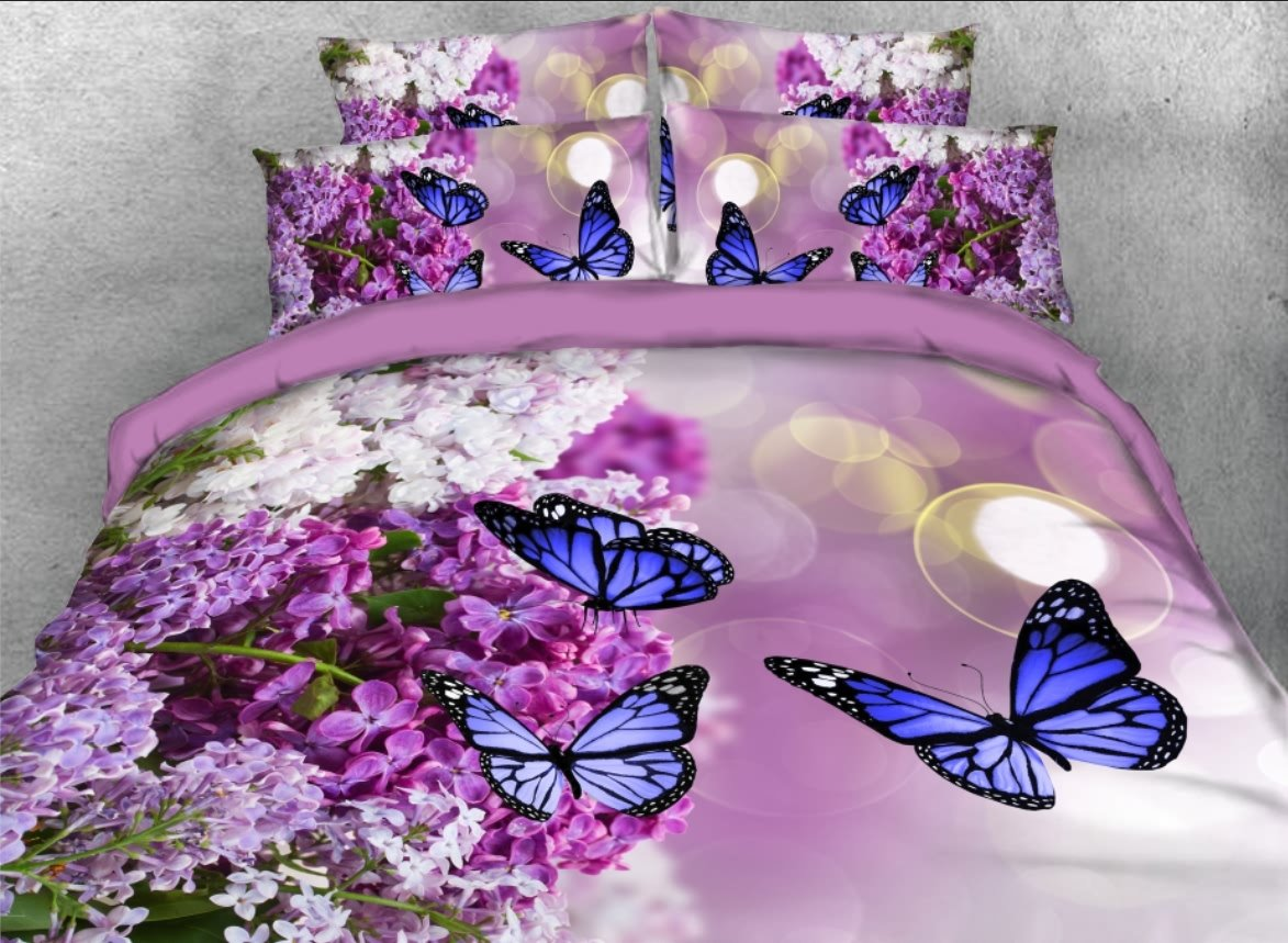 Vivilinen 3D Lilac and Butterfly Printed 5-Piece Comforter Sets