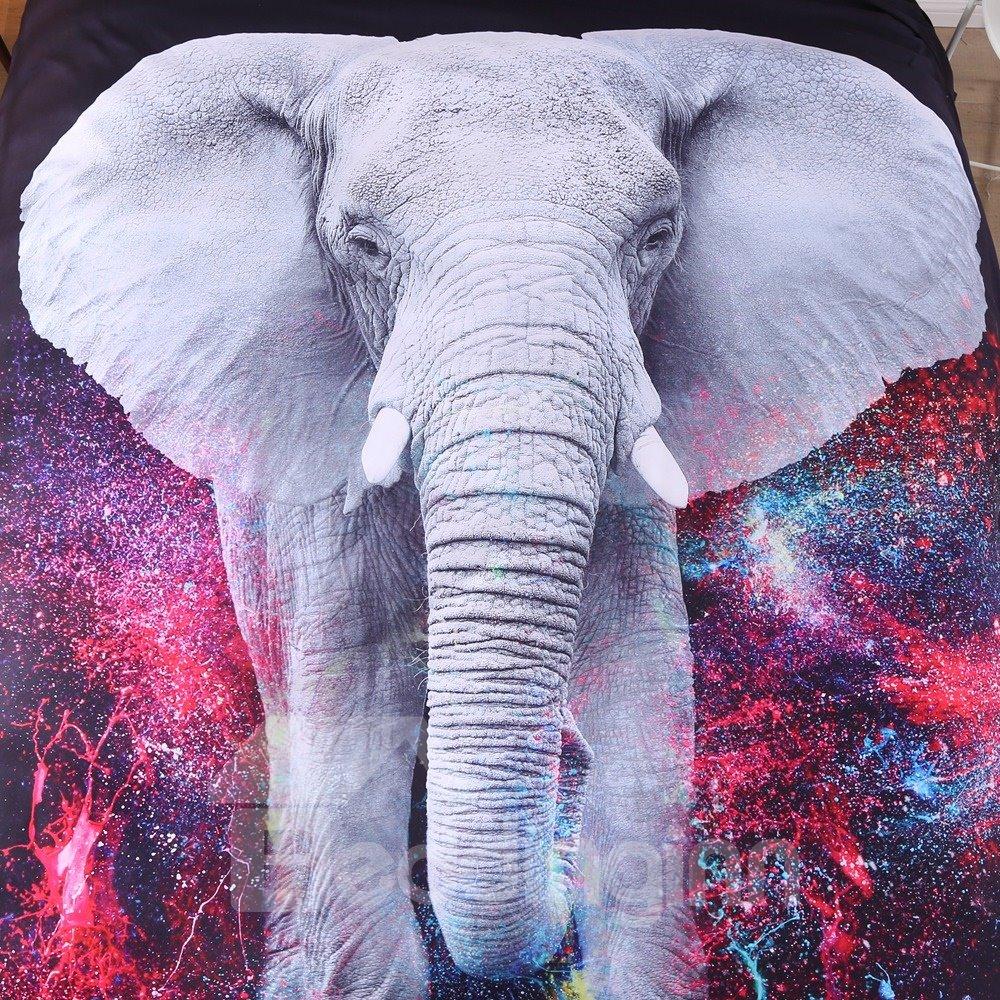 Vivilinen 3D Elephant Galaxy Printed 5-Piece Comforter Sets