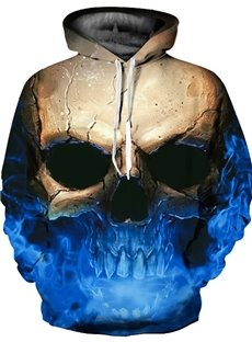 3D Skull Blue Color Sweater Long Sleeve Cool Hoodies