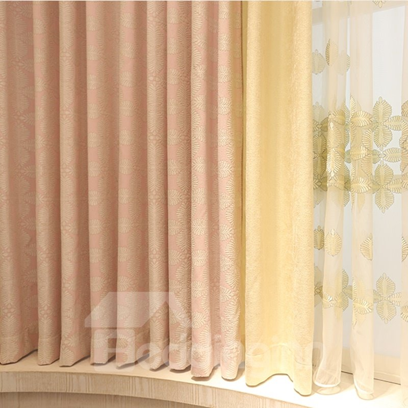 Cozy and Romantic Pink Thick Polyester 2 Panels Living Rom Blackout Curtain
