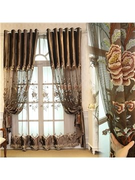 Noble and Elegant Brown Embroidered Flowers 2 Panels Living Room Curtain