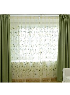 Concise and Fresh Green Embroidered Flowers 2 Panels Living Room Sheer Curtain