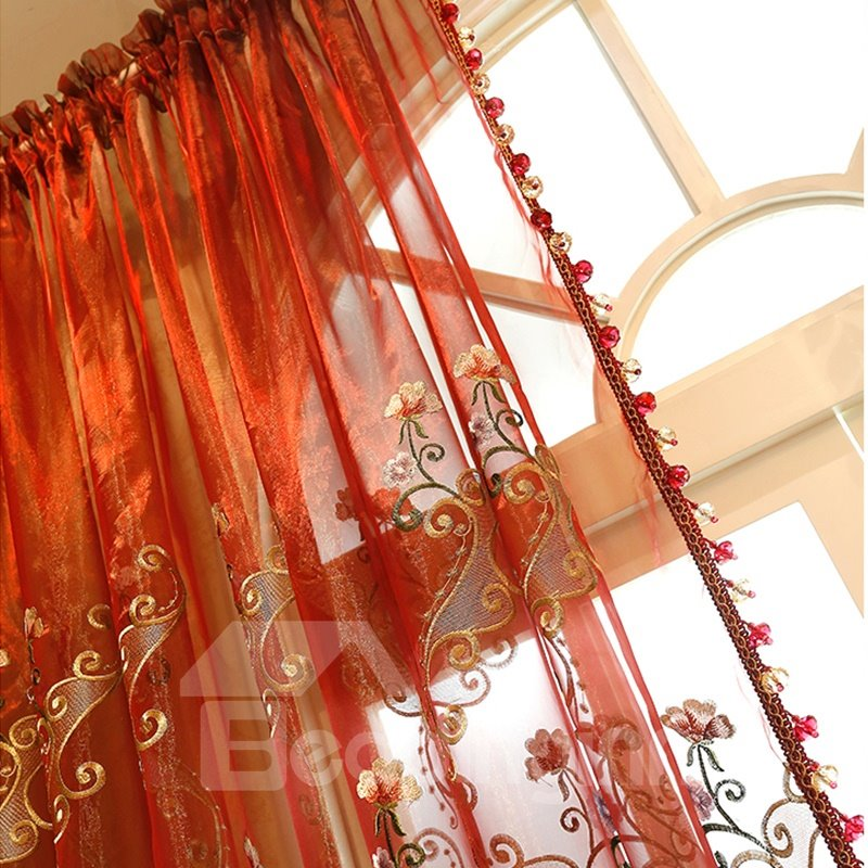 Elegant Chenille Materials with Embroidered Flowers Sheer Curtain for Living Room