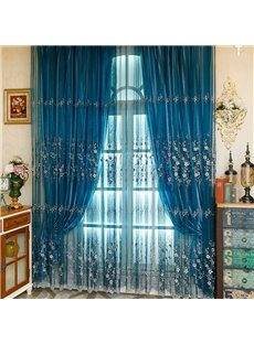 Modern and Romantic Blue Embroidered White Flowers Yarn with Bead Custom Sheer Curtain